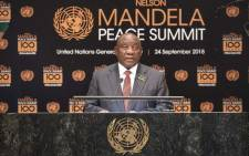President Cyril Ramaphosa makes remarks during the Nelson Mandela Peace Summit. Picture: United Nations Photo.