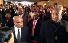 Mandla Mandela and President Jacob Zuma in the front row in Bryanston during the Nelson Mandela memorial. Picture: Mandy Wiener/EWN.