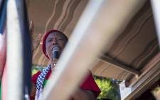 Economic Freedom Fighters (EFF) President Julius Malema address protesters gathered outside the Israel Embassy in Pretoria. Picture: Thomas Holder/EWN.
