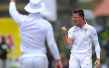Dale Steyn celebrates after taking the wicket of Sri Lankan opener Upul Tharanga on Day 4 of the first Test in Galle. Picture: Official Cricket South Africa Facebook Page.