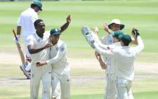 FILE: Proteas fast bowler Kagiso Rabada celebrates a wicket with teammates during day 4 of the third Test match against Pakistan at the Wanderers on 14 January 2019. Picture: @OfficialCSA/Twitter