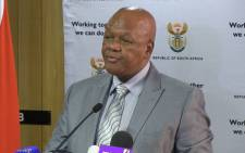 Justice minister Jeff Radebe at the Guptagate briefing held at the GCIS building in Pretoria. Picture: Reinart Toerien/EWN