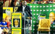 ANC Deputy President Cyril Ramaphosa addresses thousands of the party's supporters at the Standard Bank Arena during a prayer service honouring Nelson Mandela, 8 December 2013. Picture: Sebabatso Mosamo/EWN.
