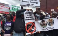 Zimbabweans protest against the continued leadership of Robert Mugabe on 18 November 2017 following a military takeover. Picture: EWN