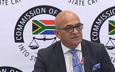 A YouTube screengrab shows Mo Shaik at the state capture inquiry on 26 November 2019.