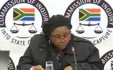 A screenshot of Koroneka Trading and Projects director, Babadi Tlatsana at the state capture commission of inquiry on Saturday 22 June 2019. Picture: SABCDigitalNews/Youtube