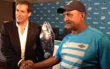 Orlando Pirates coach, Roger De Sa and Platinum Stars coach, Allan Freese shake hands at the press conference at the PSL head Office in Parktown on 5 December 2013. Picture: Marc Lewis/EWN