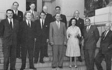 The parliamentary caucus of the Progressive Party in 1960 on the steps of parliament. Front: Walter Stanford, Harry Lawrence, Boris Wilson, Jan Steytler, Helen Suzman, Colin Eglin, Owen Williams. Back: Ray Swart, Clive van Ryneveld, John Cope, Zach de Beer, Ronald Butcher. Picture: Wikimedia Commons.