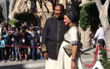 Mandla Mandela and wife Rabia arrive at Sona 2017. Picture: Aletta Harrison/EWN.