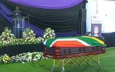 A screengrab of Philip Kgosana's casket at his funeral service.