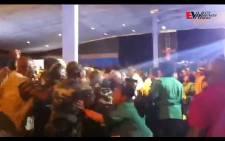 A video grab shows pushing and shoving. Video: Rahima Essop/EWN