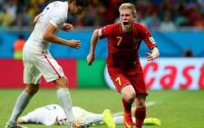 Belgian midfielder Kevin de Bruyne wheels away in celebration after giving his side the lead against the USA. Picture: Facebook.
