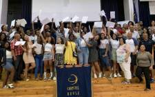 The class of 2019 at Christal House, in Ottery, celebrate after receiving their results. Picture: Kaylynn Palm/EWN