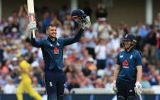 England's Alex Hales celebrates scoring a century against Australia at Trent Bridge on 19 June 2018. Picture: AFP