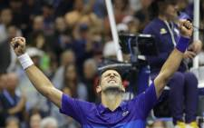 Novak Djokovic of Serbia celebrates winning match point to defeat Alexander Zverev of Germany during their Men's Singles semifinal of the 2021 US Open on 10 September 2021. Picture: AFP