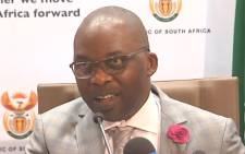 A screengrab of Justice Minister Michael Masutha at a press briefing on 14 August 2018.