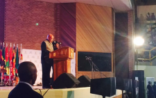 President Jacob Zuma takes podium after much singing and dancing this afternoon. Picture: Dineo Bendile/EWN