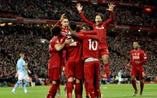 Liverpool players celebrate a goal during their English Premier League match against Manchester City at Anfield in Liverpool on 10 November 2019. Picture: @LFCUSA/Twitter