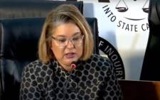 A screengrab of former head of legal and compliance at Eskom, Suzanne Daniels, appearing at the state capture inquiry on 15 September 2020. picture: SABC/YouTube