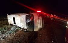 A taxi is seen on the road after an accident that left 15 injured in Carletonville. Picture: ER24.