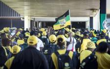 ANC delegates sing and dance outside the plenary at ANC's 54th national conference. Picture: Thomas Holder/EWN.
