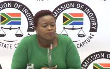 A YouTube screengrab shows Phumeza Nhantsi at the state capture inquiry on 19 June 2019.