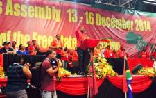 FILE: The EFF's Floyd Shivambu salutes the crowd during the EFF's inaugural National People's Assembly in December 2014. Picture: Govan Whittles/EWN.