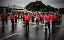 SANDF ceremonial and marching band members on parade in anticipation of Zuma. Picture: Thomas Holder/EWN