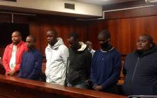 The six suspects accused of the kidnapping and murder of Andile Mbuthu appear in the Verulam magistrates court on 11 May 2020. Picture: Nkosikhona Duma/EWN
