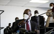 Health minister Dr Zweli Mkhize visits the Nasrec quarantine and isolation centre on 20 July. Picture: Kayleen Morgan/EWN