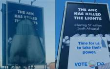 The DA's vandalised billboard. Picture: Our_DA/Twitter