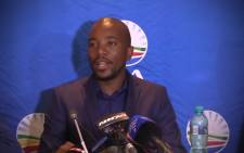 DA leader Mmusi Maimane speaking at the IEC result centre in Tshwane. Picture: Kgothatso Mogale/EWN