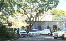 The Hawks raid the Gupta family's Saxonwold compound in Johannesburg on 14 February 2018. Picture: EWN Traffic