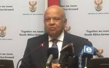 Public Enterprises Minister Pravin Gordhan briefs the media ahead of his budget vote debate in Parliament on 15 May 2018. Picture: Lindsay Dentlinger/EWN
