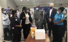 (From centre to the right) Health Minister Dr Zweli Mkhize, Western Cape Premier Alan Winde and provincial Health MEC Dr Nomafrench Mbombo at the Lentegeur Hospital in Mitchells Plain on 19 April 2021. Picture: Graig-Lee Smith/Eyewitness News
