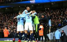 Manchester City players celebrate a goal in the English Premier league match against Liverpool at the Etihad Stadium on 3 January 2019. Picture: @ManCity/Twitter