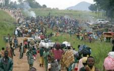 Civilians in the Democratic Republic of Congo fleeing ongoing violence in the country. Picture: AFP.