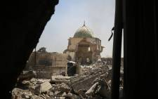 A picture taken on 29 June 2017 shows the destroyed Al-Nuri Mosque in the Old City of Mosul during the ongoing offensive to retake the area from Islamic State group fighters. Picture: AFP.