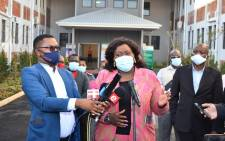 KZN Health MEC Nomagugu Simelane-Zulu (centre) briefs the media on 2 June 2020 at the launch of a 275-bed quarantine site at Durban's Clairwood Hospital for COVID-19 patients. Picture:@kznhealth/Twitter.