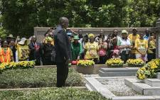 President Cyril Ramaphosa at the Wreath Laying ceremony at Grave-site of late President Langalibalele Dube in Inanda on 8 January 2018. Picture: Sethembiso Zulu/EWN.