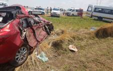 At least 20 people were injured and one person was killed in a head-on collision on the R54 between Fochville and Potchefstroom on Saturday afternoon. Picture: @ER24EMS/Twitter.