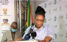 Defence Minister Thandi Modise at a media briefing on 25 October 2021. Picture: @GCISMedia/Screengrab.