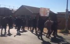 A screengrab of Pimville residents in Soweto marching in the streets on 14 July 2021 in what they called a demonstration to defend the township economy.
