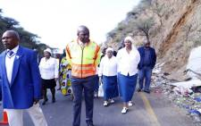 KZN officials including Community Safety MEC Mxolisi Kaunda and ANC Secretary-General Ace Magashule visit the scene of a deadly bus accident. Picture: Supplied.