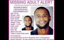 Nizaam Duminy was reported missing in December. Picture: facebook.com