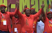 EFF leader Julius Malema is joined in song by his party's leadership during the EFF's Assembly at the Free State University in Bloemfontein, Sunday 14 December 2014. Picture: Vumani Mkhize/EWN.