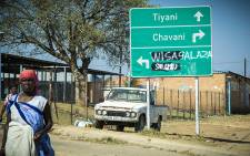 The sign boards have had the Venda area names scratched out, and the Tsonga names painted over. Picture: Thomas Holder/EWN.