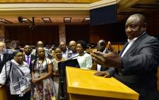 President Cyril Ramaphosa joined by the Chairperson of the NCOP Ms Thandi Modise and the Speaker of Parliament Ms Baleka Mbete checking the state of readiness around Parliament ahead of his State of the Nation Address in the National Assembly. Picture: GCIS.