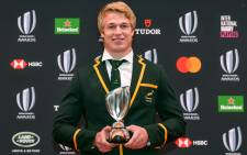 World Rugby Men's 15s Player of the Year award winner Pieter-Steph du Toit of South Africa poses with the trophy following the World Rugby Awards 2019 ceremony in Tokyo on 3 November 2019. Picture: AFP