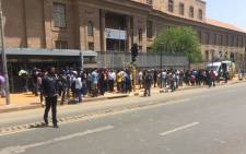 Police are keeping a close eye on a group of protesters is singing struggle songs outside the court.Picture: Kgothatso Mogale/EWN